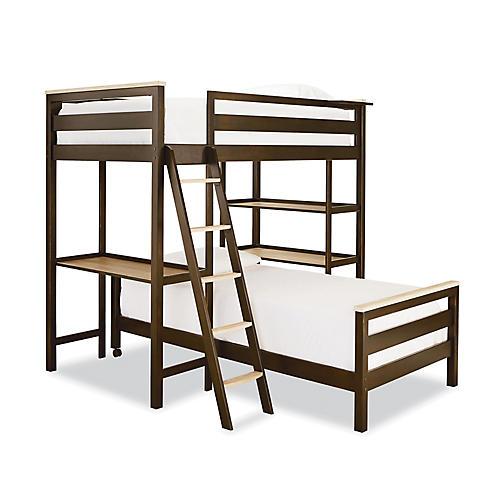 Grant Loft Twin Bunk Bed, Natural