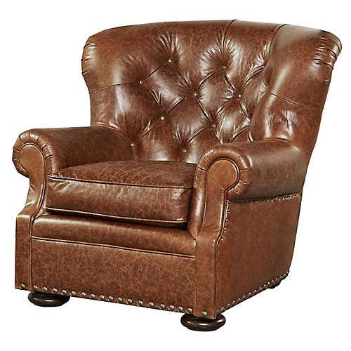 Maxwell Club Chair, Tan Leather