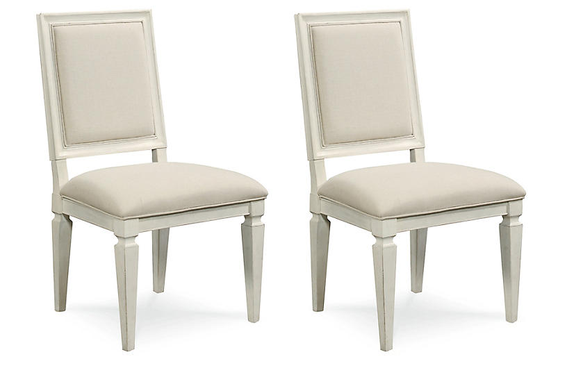 S/2 Summer Hill Side Chairs, Cream