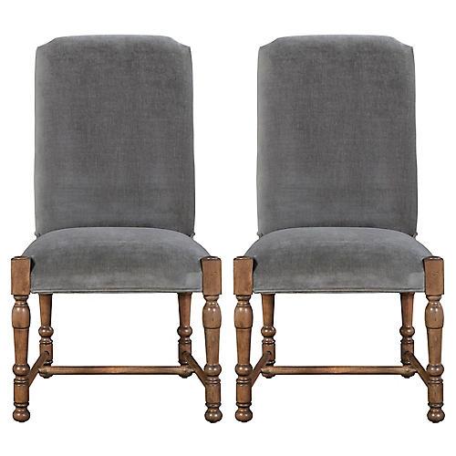 Sophia Velvet Side Chairs, Pair