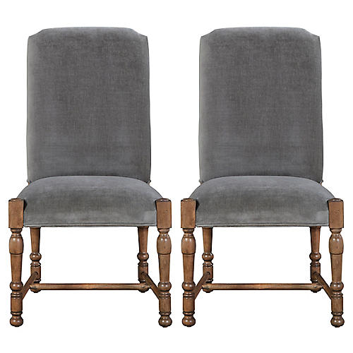 Sophia Velvet Side Chairs, Pair