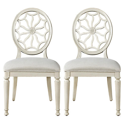 Fiona Medallion Side Chairs, Pair