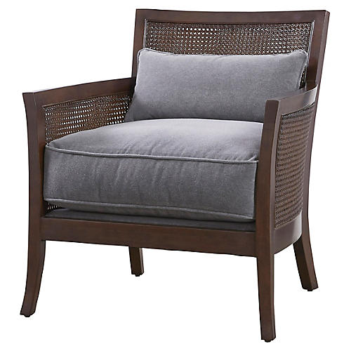Nina Accent Chair, Gray Velvet