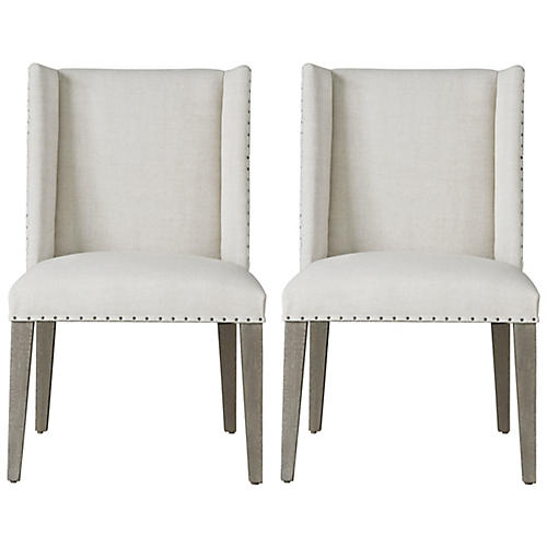 S/2 Tyndall Side Chairs, Flint/Natural