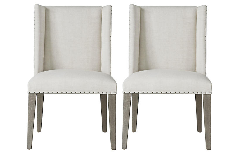 S/2 Tyndall Side Chairs, Ivory/Flint