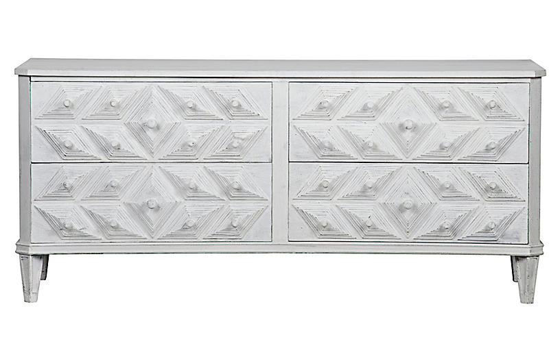 Giza 4-Drawer Dresser, Distressed White