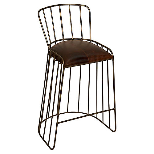 David Counter Stool, Tobacco Leather