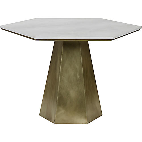 Demetria Dining Table, Antiqued Gold