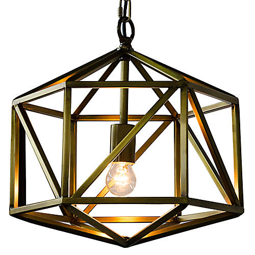 "Diamond 19"" Pendant, Brass"