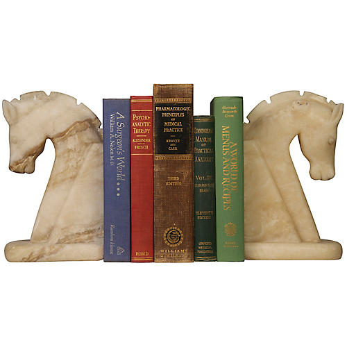 S/2 Marble Horse Bookends, Beige