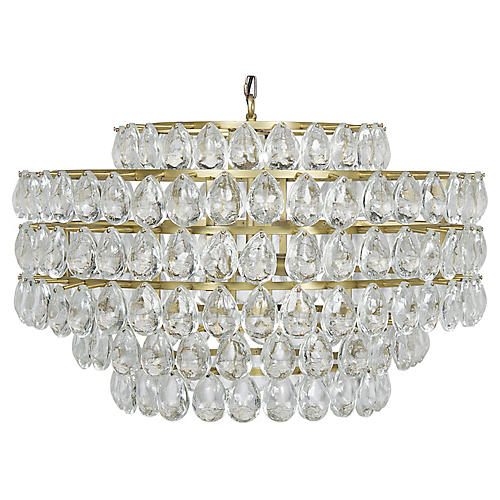 Linden Crystal Chandelier, Brass/Clear