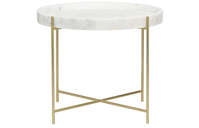 Chuy Wide Side Table, Brass
