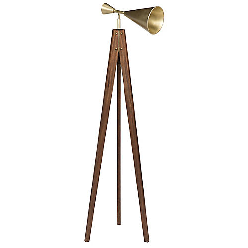 Aku Floor Lamp, Dark Walnut/Brass