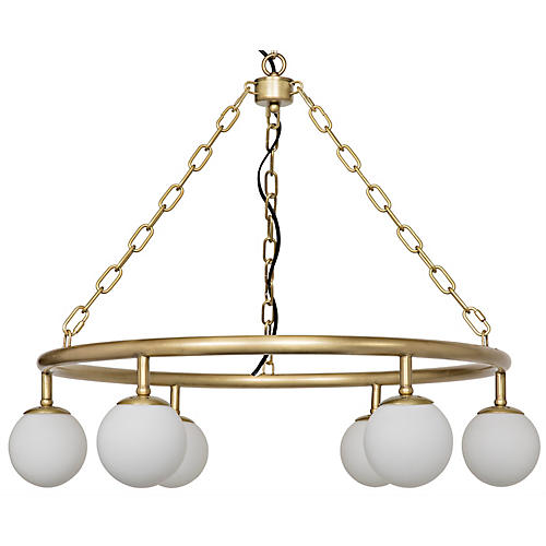 Modena Small Chandelier, Antiqued Brass