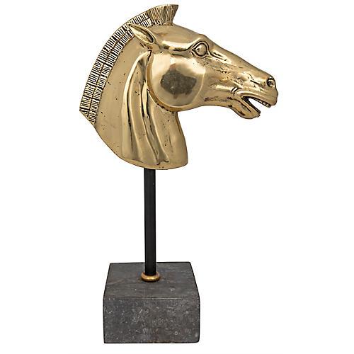 "14"" Trojan Horse Accent, Brass/Gray"