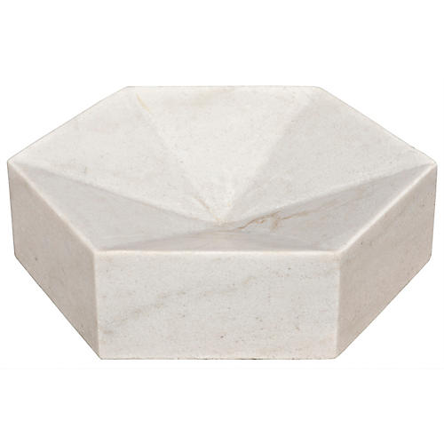 "12"" Trilateral Decorative Tray, White"
