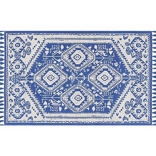 Malabar Flat-Weave Rug, Blue/White