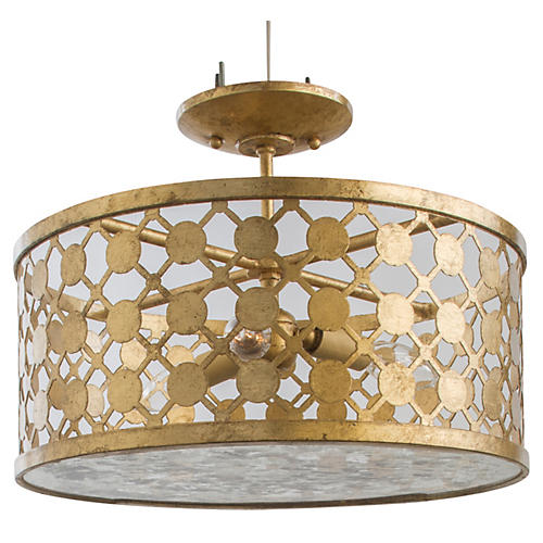 Cielo 3-Light Semi-Flush, Gold