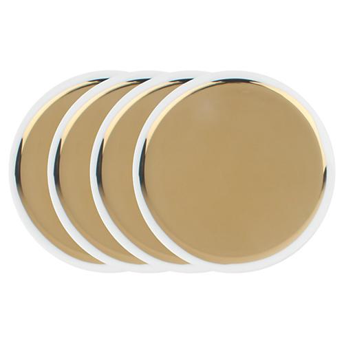 S/4 Dauville Tidbit Plates, Gold