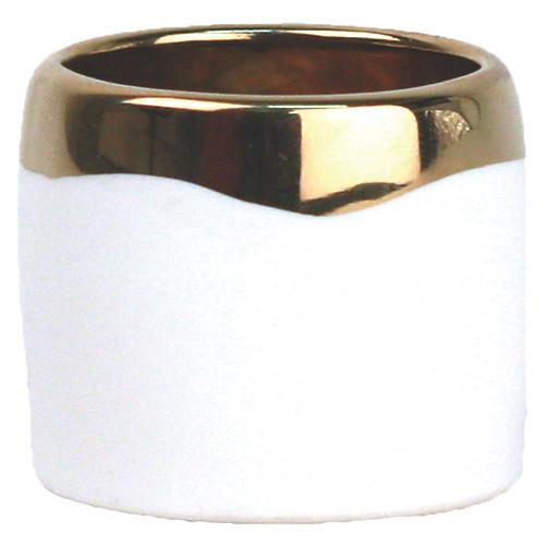 S/4 Dauville Napkin Rings, Gold/White