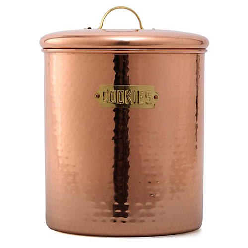Hammered Cookie Jar, Copper