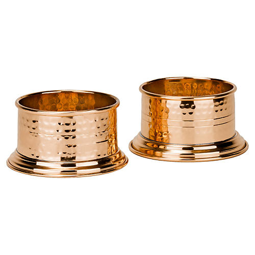 S/2 Fez Hammered Copper Wine Coasters