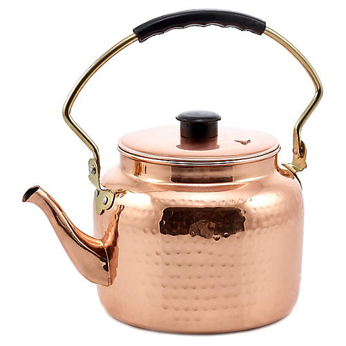 Marrow Hammered Tea Kettle, Copper