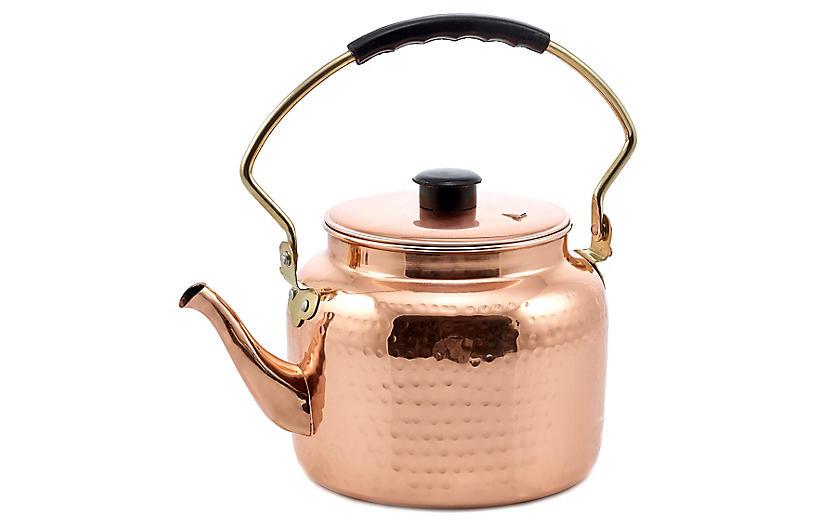Marrow Hammered Tea Kettle, Copper