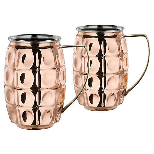 S/2 Hudson Beer Mugs, Copper