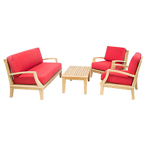 Grande Teak 4-Pc Lounge Set, Red