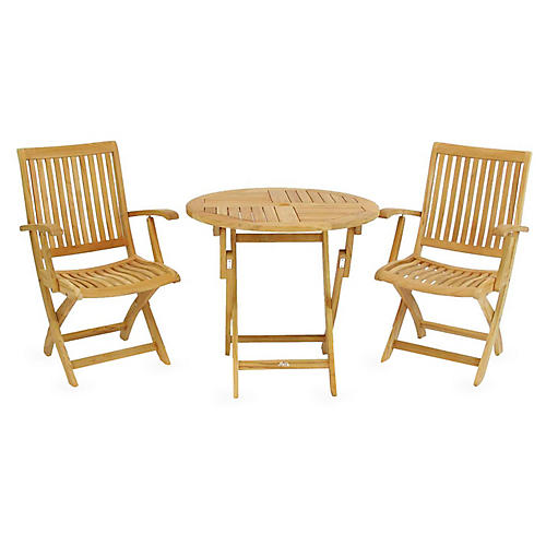 Valencia 3-Pc Bistro Set, Natural