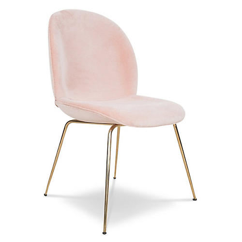 Hank Side Chair, Pink Velvet