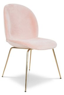 hank side chair, pink velvet - dining chairs - dining - furniture