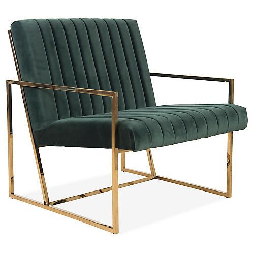 Gale Accent Chair, Hunter Green Velvet