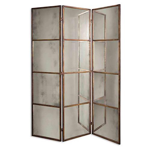 Dukes Panel Floor Mirror, Antiqued Gold