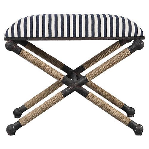 Jean Ottoman, Navy/White Stripe Linen