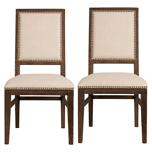 S/2 Roscoe Side Chairs, Beige