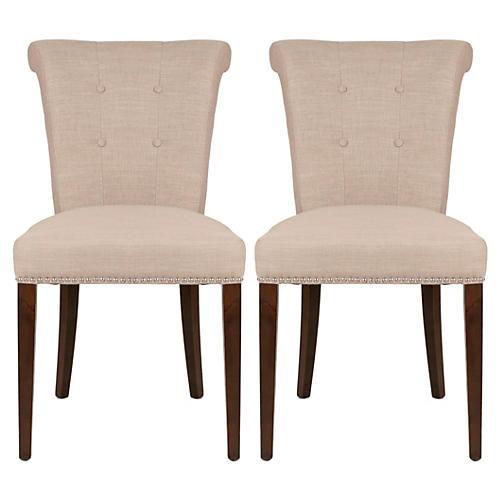 S/2 Georgie Side Chairs, Almond
