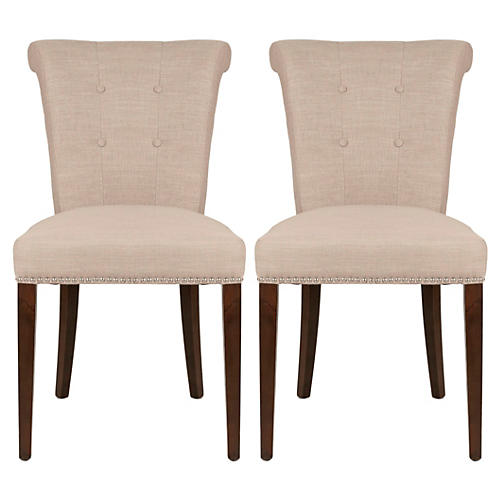 S/2 Georgie Side Chairs, Almond