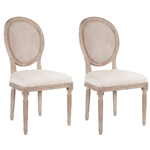 S/2 Olivier Side Chairs, Bisque Linen