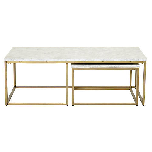 Robin Nesting Coffee Table, Marble/Gold