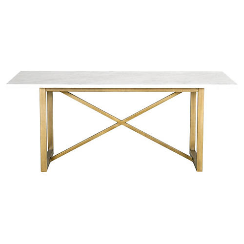 "Lexie 86.5"" Dining Table w/Carrara, Gold"