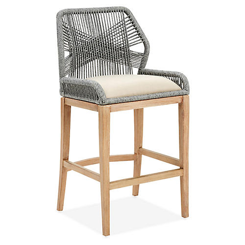 Loom Outdoor Barstool, Platinum
