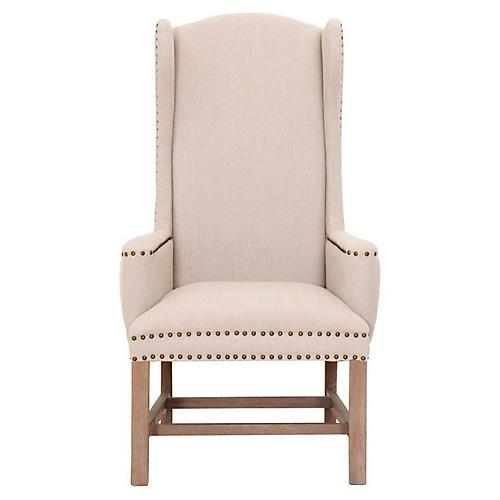 Benson Wingback Chair, Oatmeal Linen