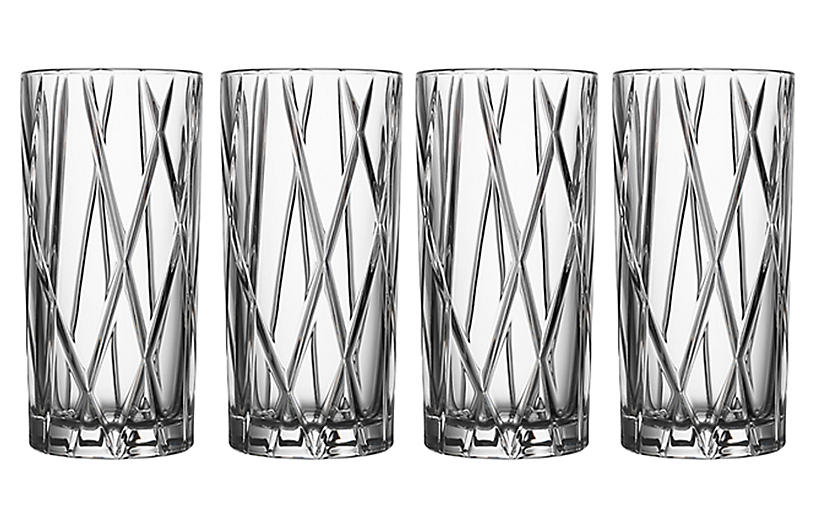 S/4 City Highball Glasses, Clear
