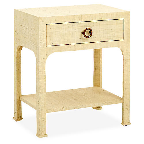 Kos 1-Drawer Raffia Nightstand, Cream