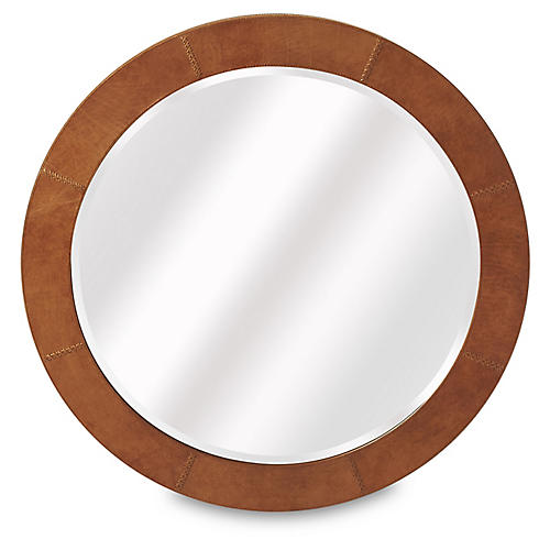 Lea Stitched-Leather Wall Mirror, Brown