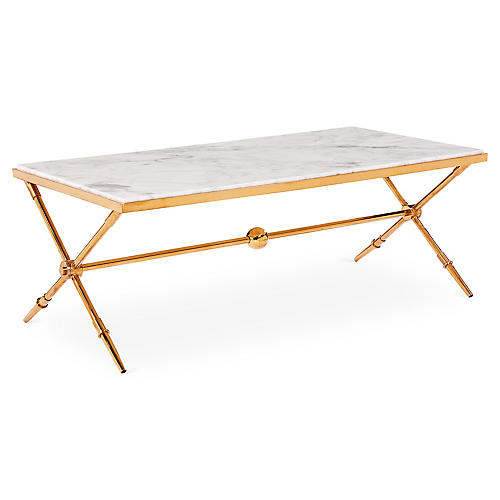"Hudson 47.25"" Marble Coffee Table, Gold"