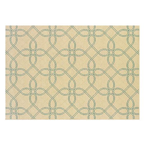 Gisborne Outdoor Rug, Ivory/Blue