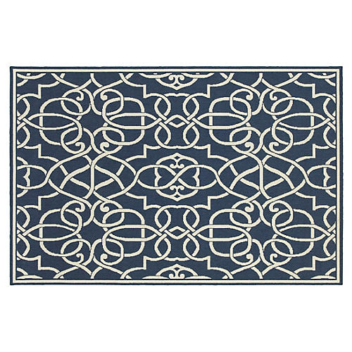 Palmdale Outdoor Rug, Navy/Ivory